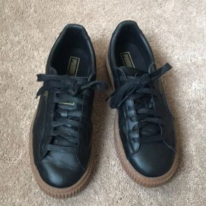 Black Puma basket sneakers size 9